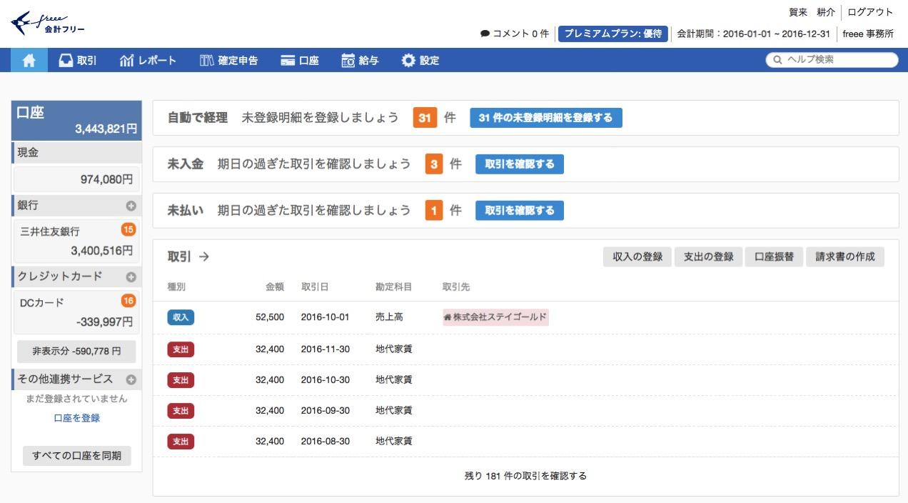 パソコン 01 会計freee トップ